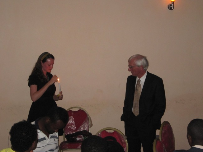 "Me as Dave's lovely assistant during his ""You are the light of the world speech"" to his trainee teachers"